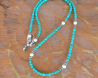 TN11 Kingman Turquoise White Agate and Sterling Silver Southwestern Native Style Pendant or Charm