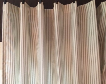 Ticking Stripe Curtain Panels Grey Black Navy Red Brown