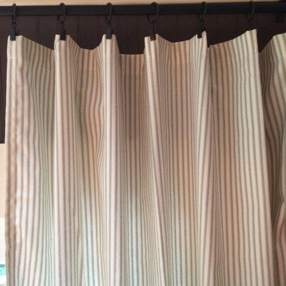 Ticking Stripe Curtain Panels Grey Black Navy Red Brown