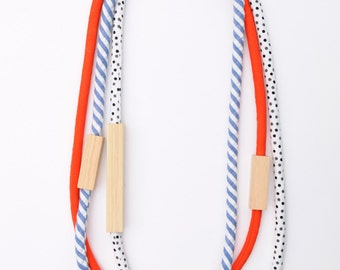 3 Piece - Wood and Fabric Necklaces in Red, Black and White Dots and Denim Stripe