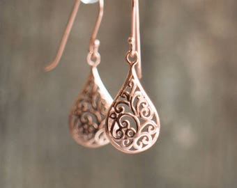 Rose Gold Filigree Drop Earrings