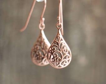 Rose Gold Earrings, Filigree Earrings, Wedding Gift for Her, Bridesmaids Gifts, Dangle Earrings, Small Earrings, Jewelry, Minimalist