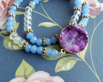 Pink Druzy Beaded Double Wrap bracelet with periwinkle crystal