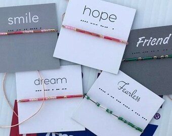 Words To Live By: Wish Bracelets - Smile, Hope, Dream, Fearless, Strength, Friend, Focus, Bad Ass, Clarity, Survivor