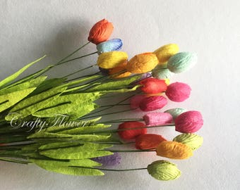 25 TULIPS Variations Listing Mulberry Paper Flowers Baskets Scrapbooks Wedding Miniatures Faux Cupcake Cards Dolls Crafts Roses 427/TU1