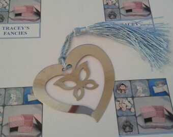 Butterfly in heart bookmark - silver coloured metal - blue tassel - approx 6cm/2.4 inches x 6cm/2.4 inches - gift wrapped