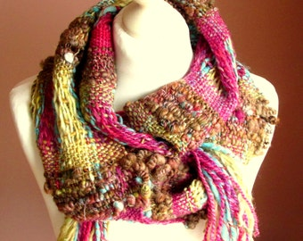 Handwoven scarf Art yarn scarf Women boho scarf Natural wool scarf Handspun handwoven Handmade warm scarf Long wool scarf