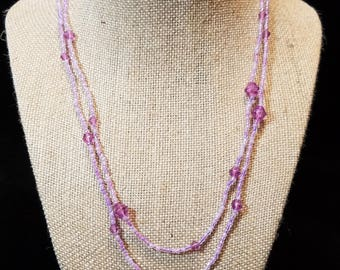"CLEARANCE - 17"" Purple/Pink Beaded Necklace"