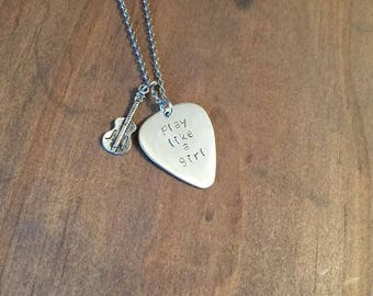 Play Like A Girl Guitar Pick Necklace- Stainless Steel Guitar Pick- Womens Jewelry- Music Jewelry- Motivation Jewelry- Guitar Pick Jewelry