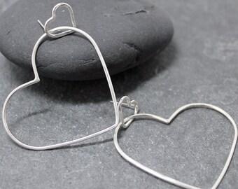 HEARTS IN ME, Heart earrings, Sterling Silver Earrings,Hoops,Valentine