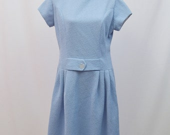 1960s style sky blue shift dress with front belt detail