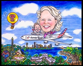 Custom caricature, retirement gift, retirement for women, retirement for men, retirement caricature ,Las Vegas caricature,travel caricature