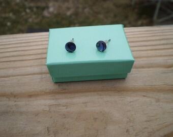 Purple Paua Shell Stud Earrings 6mm