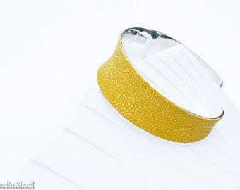 Yellow stingray leather cuff, stingray leather cuff bangle, stingray leather cuff bracelet, shagreen cuff, gift for her, for Mother's Day