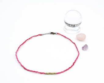 50% of Proceeds to Planned Parenthood. Hot Pink Choker with Small Brass Beads.  Silk Cord. Hand-dyed Silk. Delicate Choker. Fiber Jewelry.