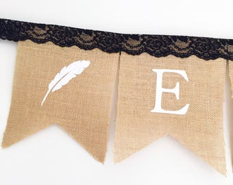 Personalised Boho Burlap Bunting Banner Flags with black lace and feathers.
