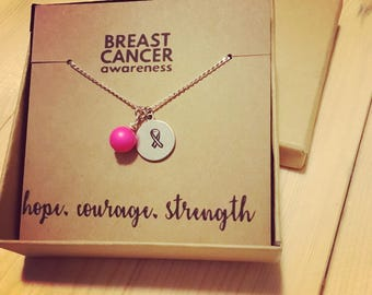 Breast cancer awareness necklace: strength, hope, love