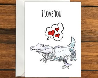 I Love You Alligator greeting card A6 One Card and Envelope Valentine's Romantic