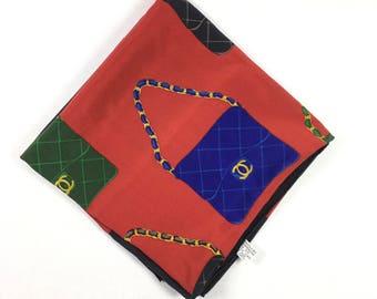 Authentic Chanel scarf. Chanel scarf. Authentic vintage Chanel scarf. Silk Chanel scarf. Chanel scarf. Vintage Chanel scarf.