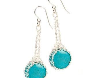 Turquoise earrings, Silver dangle earrings, Dangle turquoise earrings, Turquoise BOHO jewelry, Silver gemstone earrings, Unique jewelry