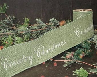 "Country Christmas Wired BURLAP RIBBON 4"" x 6' holiday decor garland banner green"