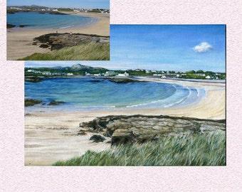 Custom landscape painting, customized art from photo  original art decor, personalized wallart, marine beach view, sentimental display
