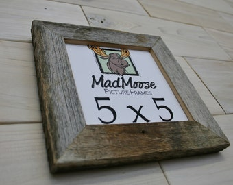 "5x5 Barn Wood [Thin x 1.25""] Picture Frame (barn wood frame barnwood frame gray wood frame weathered rustic frame square frame small frame)"