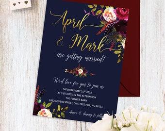 Printable Wedding Invitation Navy Blue and Marsala Wedding Invitations Floral Boho Wedding Invite Navy Gold Marsala Wedding Invitation Set