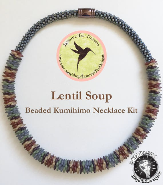 Lentil Soup Beaded Kumihimo Necklace Kit, A Fully Beaded Yatsu Kongoh Gumi Necklace With 5 Color Matte Frosted Lentils And Seed Beads