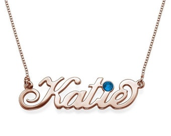 24k RoseGold Name Necklace w/ Sapphire September Birthstone ** FREE SHIPPING **