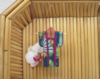 "3"" Kimono Ornament. ""Tiny Teal Fans."" Fabric Origami Kimono Ornament: Asian Motif. Fuschia Maple Gold. Hang it, Frame it, Give it."
