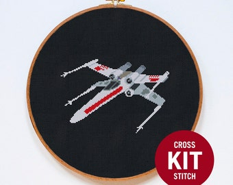X-Wing, Star Wars Modern Cross Stitch Kit, StarWars Cross Stitch Easy Kit, Republic Starfighter, Counted Cross Stitch Pattern Instructions
