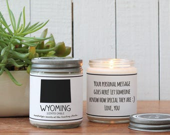 Wyoming Scented Candle - Homesick Gift   Missing Home Gift   State Scented Candle   Moving Gift   College Student Gift   State Candles