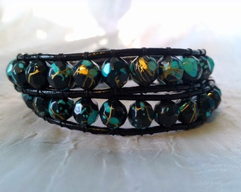 READY TO SHIP! - Leather Double Wrap Bracelet - Teal, Black, and Gold Beads with Black Leather - Retro Bracelet, Bohemian Bracelet