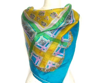 1950s Vintage SILK Scarf / Floral Scarf with Plaid Border / Rolled Hem / Bright Aqua Blue and Yellow Scarf / Neck Scarf / Gift for Her