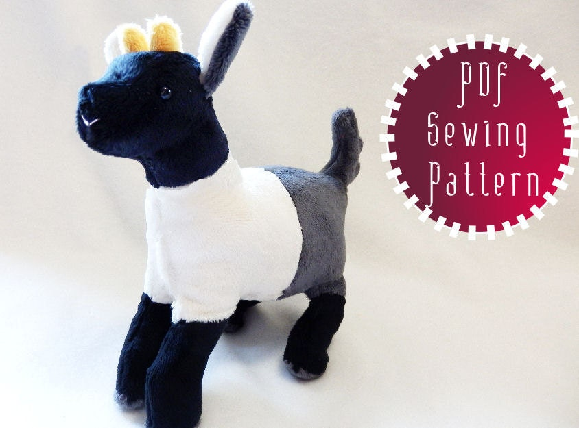Pygmy Goat plush pattern stuffed animal sewing PDF