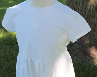 Girl's White Embroidered Dress Size 7 -Ready to Ship