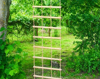 bulky rope ladder 2 feet (60 cm) wide 3-30 feet (1-10 m) long, handmade tree house ladder, touwladder, strickleiter, échelle de corde,