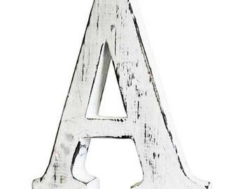 "Hand made wooden letters.... shabby chic, each is different, alphabet... 6"" - 16cm high approx"