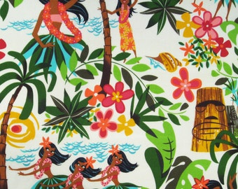 Fat Quarter - Hula Girls Alexander Henry Leis Aloha Luaus 15093AR Natural