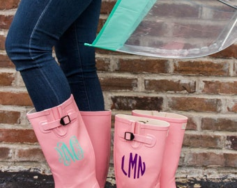 Pink Monogrammed Rain Boot- Sorority Gift, Bridesmaid Gift, Graduation Gift, Birthday Gift, Personalized Rainwear, Gifts For Her, Rainwear