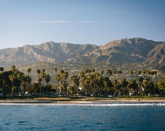 Palm trees on the shore and mountains from Stearn's Wharf, in Santa Barbara, California. Photo Print, Metal, Canvas, Framed.