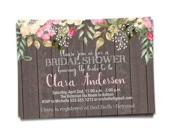 Rustic Bridal Shower Invitation Printable, DIY Bridal Shower Invitation, Rustic Bridal Shower Invite, Rustic Wedding, Wedding Shower