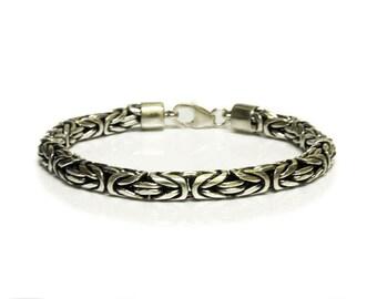 Byzantine Sterling Silver Chain, Men's 7mm Sterling Silver Bracelet, Sterling Silver Turkish Rope Bracelet, Borobudur Sterling Silver Chain