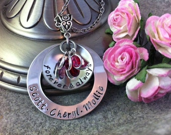 Personalized Hand Stamped Family Necklace with Birthstones