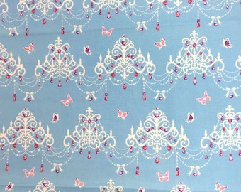 """Butterfly Chandelier BLUE 100% Cotton ~ 42"""" Wide ~ Sold by the Yard"""