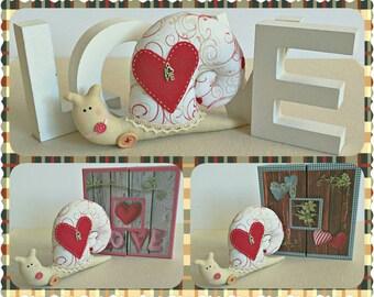 Snail, Love Snail, Valentine Snail, Handmade Snail, Stuffed Snail, Stuffed Animal, Home and Holiday Decor, Handmade Valentines Decoration