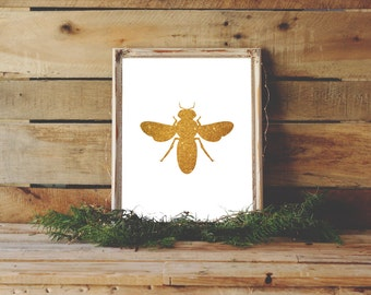 Queen Bee Print, Gold Bee, Gift for Beekeeper, Nature Lover, Gold Glitter Art, Gold Nursery Decor, I Love Bees, Save the Bees