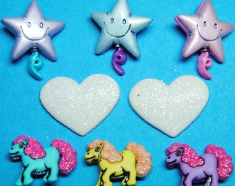 PONY TALES Balloon Glitter Heart My Little Pony Style Dress It Up Craft Buttons