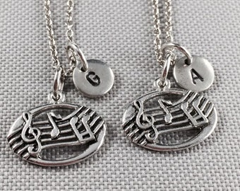 Best friend necklace, music note charm necklace, musical note, music, bff necklace, friend necklace, personalize necklace, initial